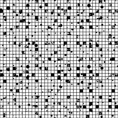 attrition: Seamless vector texture. Grunge black and white checkered background with dots, attrition, cracks. Old style abstract vintage design. Graphic illustration. Series of Grunge Old Seamless Patterns.