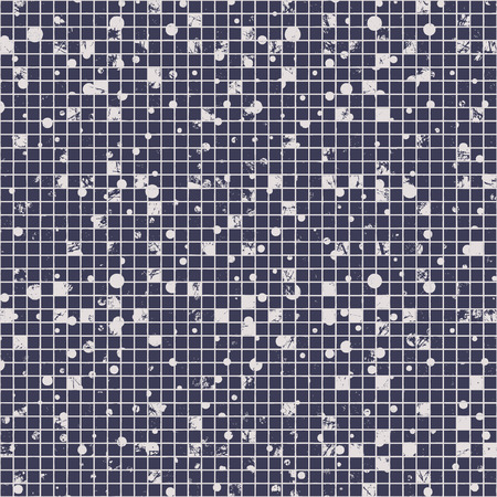 attrition: Seamless vector texture. Grunge blue and white checkered background with dots, attrition, cracks. Old style abstract vintage design. Graphic illustration. Series of Grunge Old Seamless Patterns.