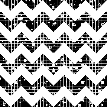 Seamless vector texture. Geometric black and white checkered background with attrition, cracks and ambrosia. Old style vintage design. Graphic illustration. Series of Grunge Old Seamless Patterns. Vektoros illusztráció