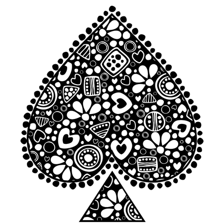 Vector decorative hand drawn  illustration. Black and white icon of playings cards with ornamental decorative elements with traditional motives, geometric figures, dots and flowers