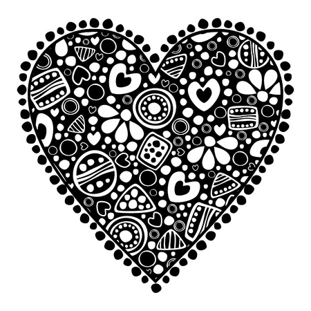 Vector decorative hand drawn  illustration. Black and white icon of playings cards in the shape of heart with ornamental decorative elements with traditional motives,geometric figures,dots and flowers