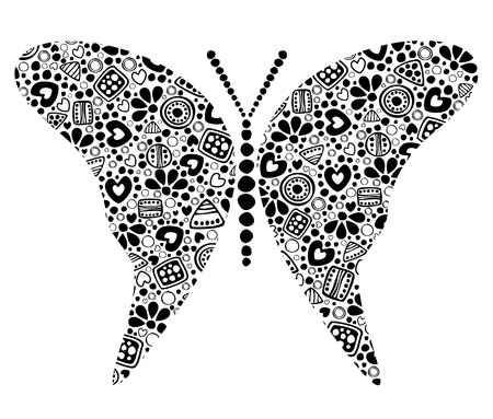 Vector decorative hand drawn insect illustration. Black and white butterfly with ornamental decorative elements with traditional motives, geometric figures, dots and flowers, isolated on the white.