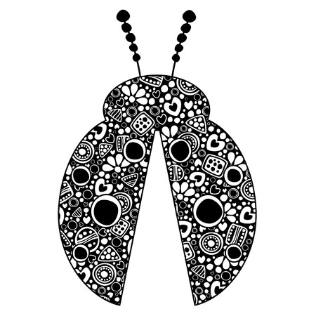 Vector decorative hand drawn insect illustration. Black and white ladybug with ornamental decorative elements with traditional motives, geometric figures, dots and flowers, isolated on the white. Illustration