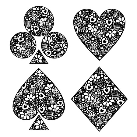 Vector decorative hand drawn  illustration. Black and white set of icons of playings cards with ornamental decorative elements with traditional motives, geometric figures, dots and flowers Illustration