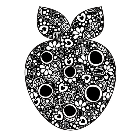 etno: Vector decorative hand drawn fruits illustration. Black and white strawberry with ornamental decorative elements with traditional motives, geometric figures, dots and flowers, isolated on the white. Illustration
