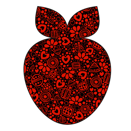 etnic: Vector decorative hand drawn fruits illustration. Black and red strawberry with ornamental decorative elements with traditional motives, geometric figures, dots and flowers, isolated on the white.