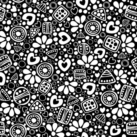 etno: Seamless vector decorative hand drawn pattern. Black and white ethnic endless background with ornamental decorative elements with traditional motives, geometric figures, dots and flowers.