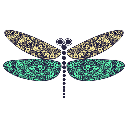 etno: Vector colorful ornamental decorative illustration of dragonfly, isolated on the white background.