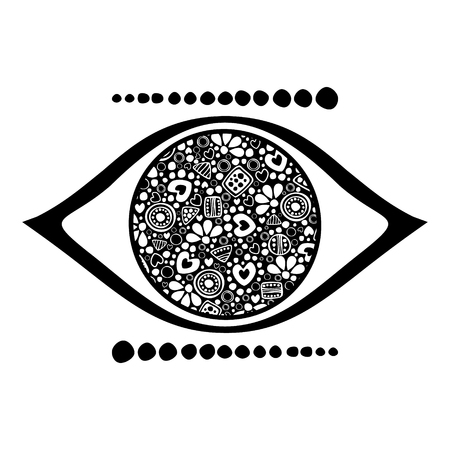 human eye: Vector black and white ornamental decorative illustration of human eye, isolated on the white background.