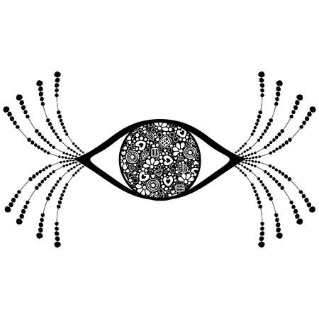 etnic: Vector black and white ornamental decorative illustration of human eye with eyelashes, isolated on the white background. Illustration
