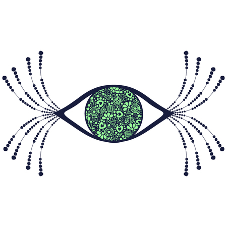 human eye: Vector black and green ornamental decorative illustration of human eye with eyelashes, isolated on the white background.