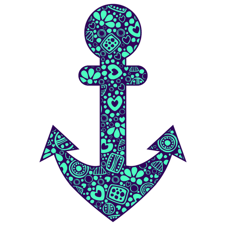 Vector blue ornamental decorative illustration of anchor, isolated on the white background.