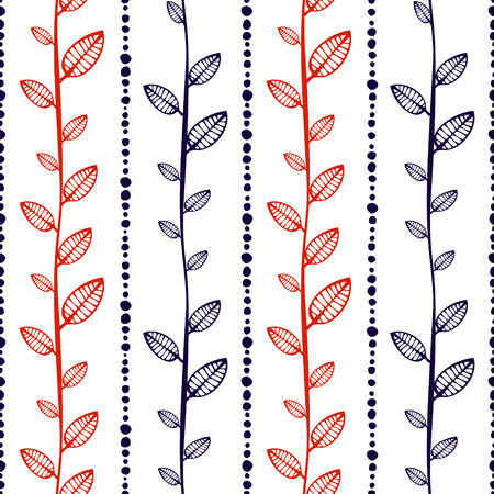 etnic: Seamless vector pattern, endless background with ornamental decorative elements in the shape of branch with leaves and dotted lines. Series of Hand Drawn Ornamental Seamless Patterns Illustration