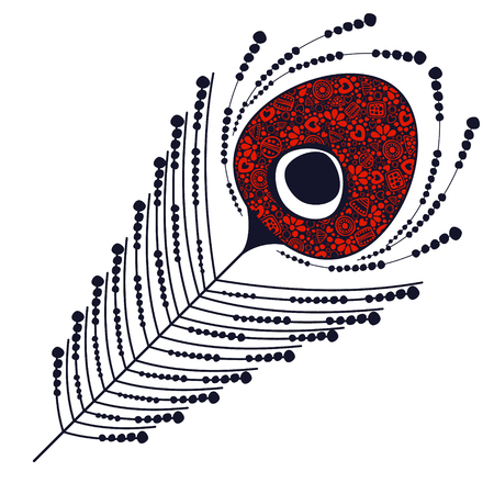 Vector black and red ornamental decorative illustration of peacock feather, isolated on the white background.