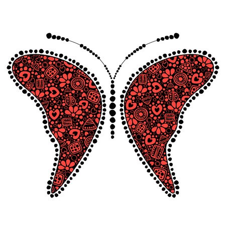 etno: Vector black and red ornamental decorative illustration of butterfly, isolated on the white background. Illustration