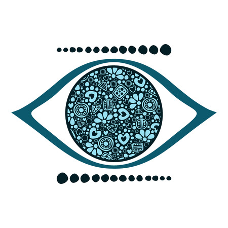 Vector blue ornamental decorative illustration of human eye, isolated on the white background.