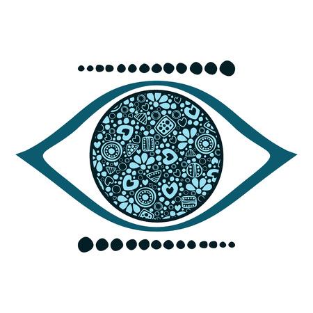 Vector blue ornamental decorative illustration of human eye, isolated on the white background. Vektorové ilustrace