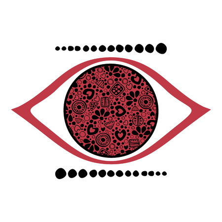 etno: Vector red and black ornamental decorative illustration of human eye, isolated on the white background. Illustration