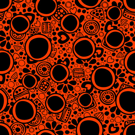 etno: Seamless vector decorative hand drawn pattern. Black and red ethnic endless background with ornamental decorative elements with traditional motives, geometric figures, dots and flowers.