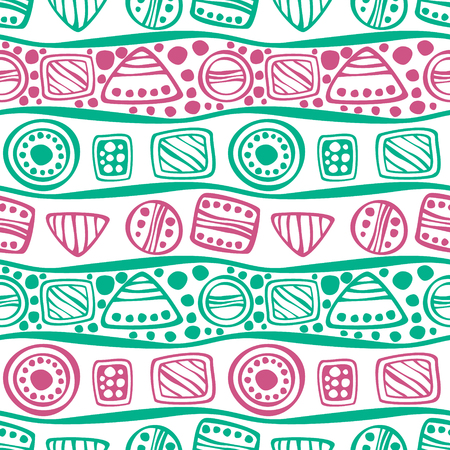 etno: Seamless vector decorative hand drawn pattern. Pink, green, white ethnic endless background with ornamental decorative elements with traditional motives, geometric figures, dots and flowers.