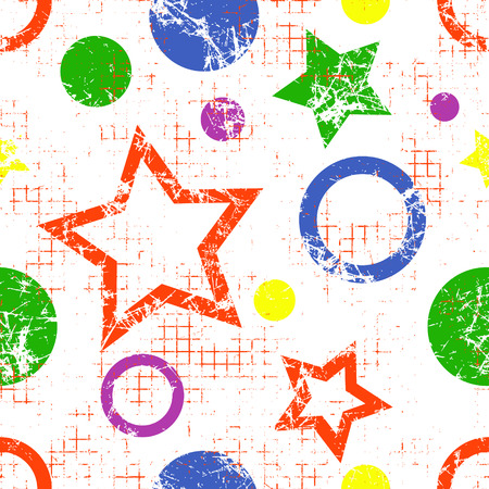 Seamless vector geometrical pattern. Endless background with geometric colorful figures, stars and circles on the white backdrop. Checkered texture with cracks, attrition, dots.