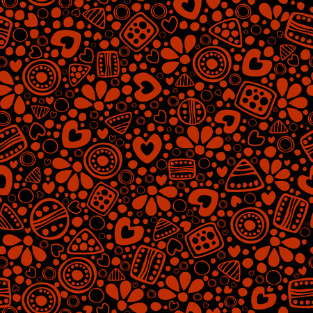 etnic: Seamless vector decorative hand drawn pattern. Black, red ethnic endless background with ornamental decorative elements with traditional motives, geometric figures, dots.