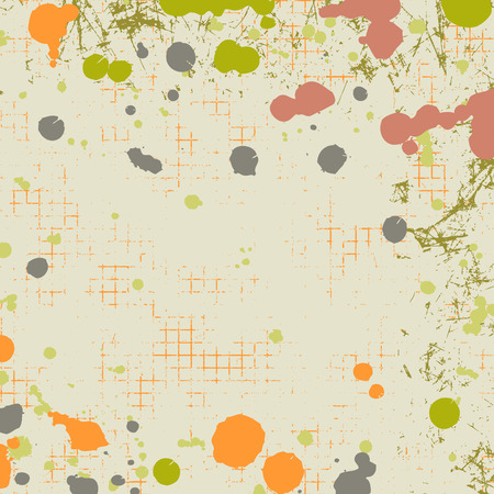 attrition: Vector background. Grunge brown template with splash, spray attrition, cracks. Old style vintage design. Graphic illustration.