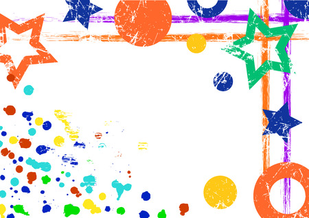Vector geometric background. Grunge colorful template with geometrical figures, brushstrokes, splash, blots with space for text. Graphic illustration. Illustration