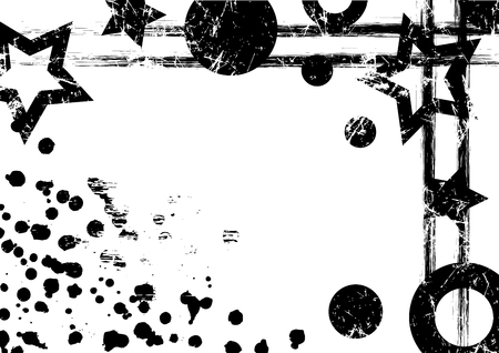 attrition: Vector geometric background. Grunge black and white template with geometrical figures, brushstrokes, splash, blots with space for text. Graphic illustration.