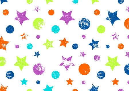 attrition: Vector background. Creative geometric colorful pattern with stars and circles. Grunge texture with attrition, cracks and ambrosia. Old style artistic vintage design. Graphic illustration. Illustration