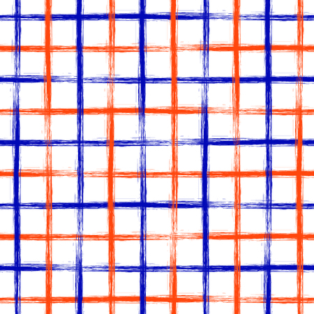 cell wall: Seamless vector geometrical pattern with hand drawn lines. Endless checkered colorful background with vertical and horizontal stripes.