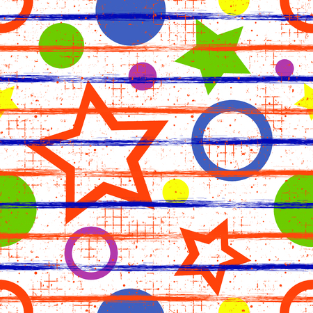 attrition: Seamless vector geometrical pattern. Endless background with geometric colorful figures, stars and circles, vertical lines on the white backdrop. Checkered Texture with cracks and attrition. Illustration