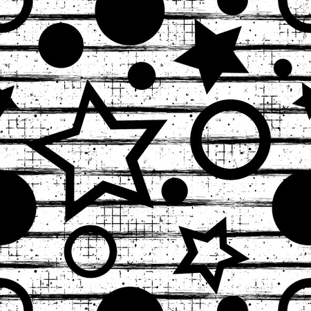 attrition: Seamless vector geometrical pattern. Endless background with geometric black and white figures, stars and circles, vertical lines on the white backdrop. Checkered Texture with cracks and attrition. Illustration