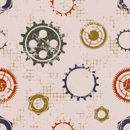 backgrounds texture: Vector seamless patterns with mechanism of watch. Creative geometric beige grunge backgrounds with gear wheel. Texture with cracks, ambrosia, scratches, attrition. Graphic illustration.
