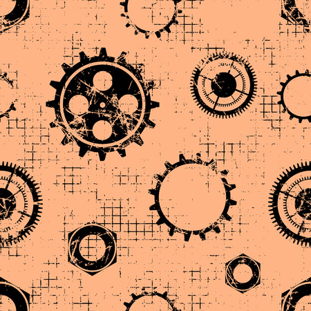 attrition: Vector seamless patterns with mechanism of watch. Creative geometric coral grunge backgrounds with gear wheel. Texture with cracks, ambrosia, scratches, attrition. Graphic illustration. Illustration