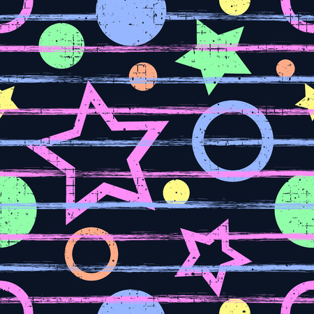 attrition: Seamless vector geometrical pattern. Blue Endless background with geometric colorful figures, stars and circles, vertical lines on the white backdrop. Checkered Texture with cracks and attrition.