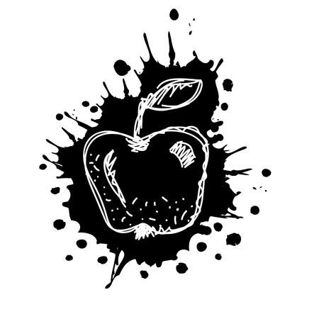Vector hand drawn black and white fruits illustration of apple with splash and drop, isolated on the white background. Line drawing, Series of Artistic, Ornamental vector Illustration.