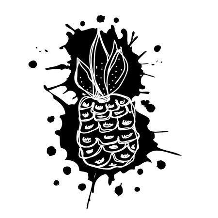 Vector hand drawn black and white fruits illustration of pineapple with splash and drop, isolated on the white background. Line drawing, Series of Artistic, Ornamental vector Illustration.