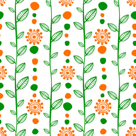 etno: Seamless vector decorative hand drawn pattern, endless background with ornamental decorative elements, flowers, branch and leaves. Series of Ornamental Hand Drawn Seamless Patterns.