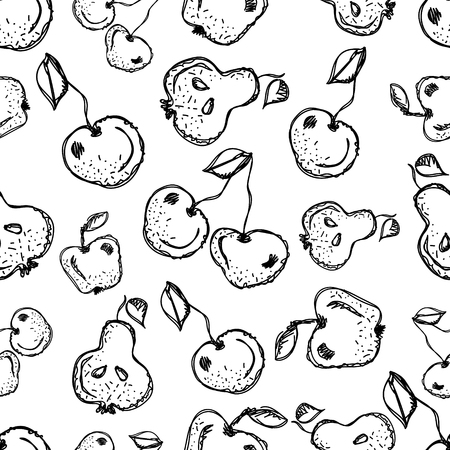 pine apple: Seamless vector pattern. Hand drawn black and white fruits illustration of cherry, apple, pear on the white background. Line drawing,