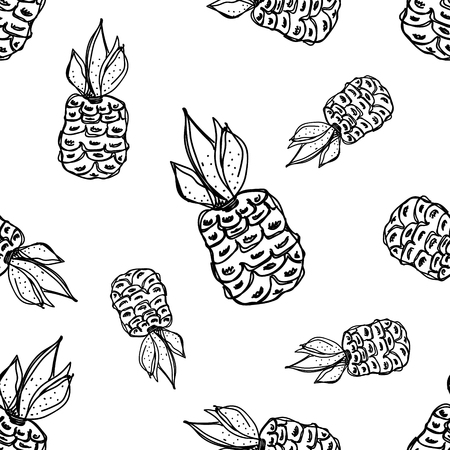 pine apple: Seamless vector pattern. Hand drawn black and white fruits illustration of pineapple on the white background. Line drawing, Illustration