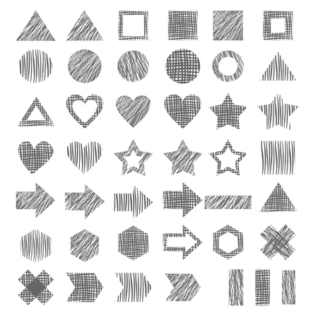 different figures: Vector set of different hand drawn gray  geometric figures, pencil drawing.  Series of vector elements for design.