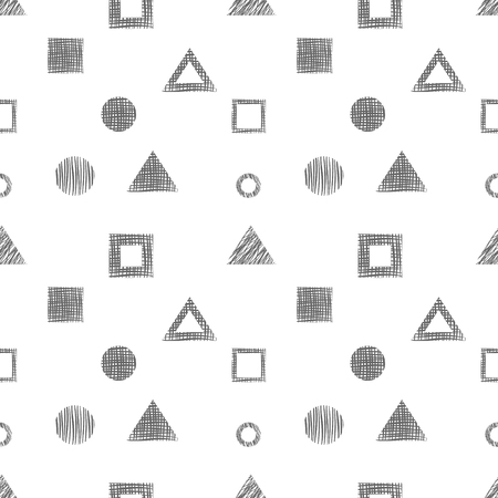 different figures: Seamless vector black and white geometrical pattern. Endless background with different hand drawn geometric figures. Illustration