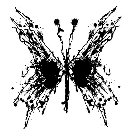 inc: Vector hand drawn butterfly. Artistic creative black and white graphic illustration with inc splash, blots and smudge isolated on the white background.