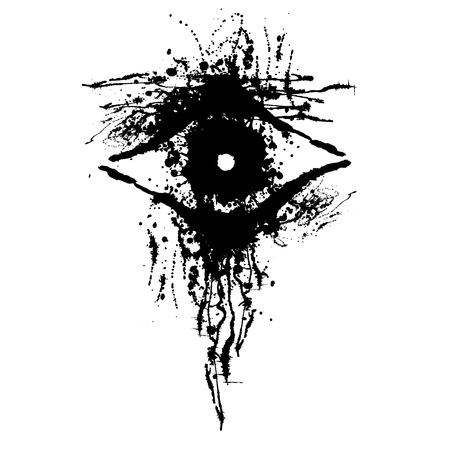 smudge: Vector hand drawn eye. Artistic creative black and white graphic illustration with inc splash, blots and smudge isolated on the white background. Illustration