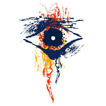 slick: Vector hand drawn eye. Artistic creative colorful graphic illustration with inc splash, blots and smudge isolated on the white background. Illustration