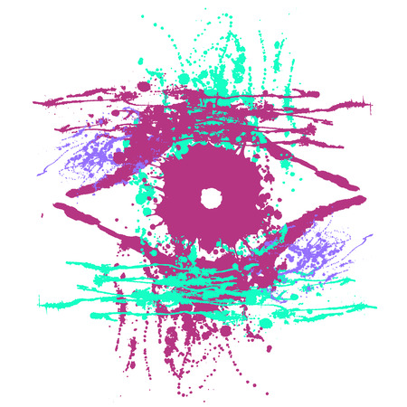 eye drops: Vector hand drawn eye. Artistic creative colorful graphic illustration with inc splash, blots and smudge isolated on the white background. Illustration