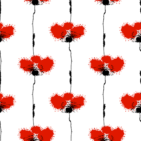smudge: Vector hand drawn floral watercolor seamless pattern with poppy. Artistic creative colorful graphic ilustration with splash, blots and smudge. Endless vector background, graphic illustration