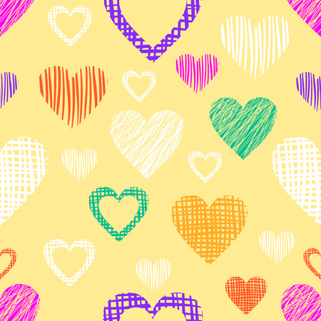 different figures: Seamless vector love pattern with hearts. Endless background with different hand drawn colorful figures.