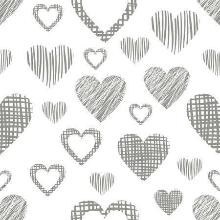 different figures: Seamless vector love pattern with hearts. Endless background with different hand drawn gray figures. Illustration